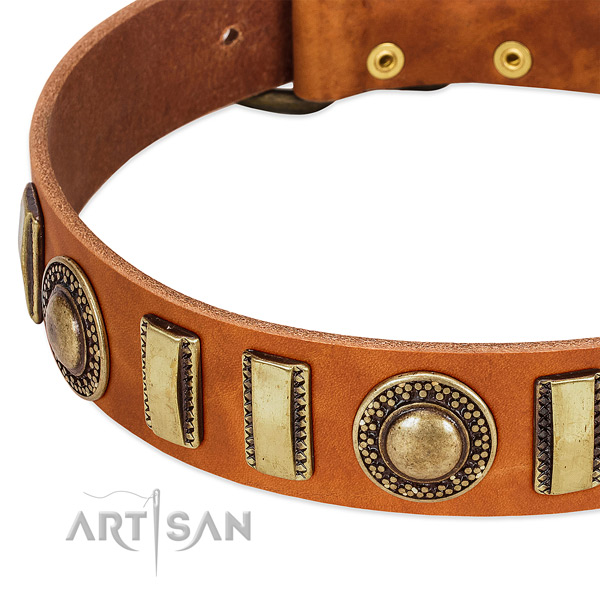 Strong genuine leather dog collar with rust resistant fittings