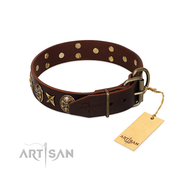 Rust resistant hardware on genuine leather dog collar for your dog