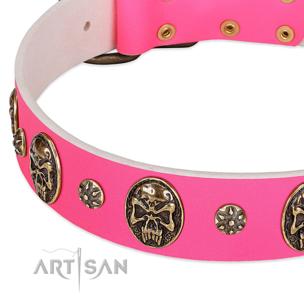 Easy to adjust dog collar handcrafted for your stylish four-legged friend