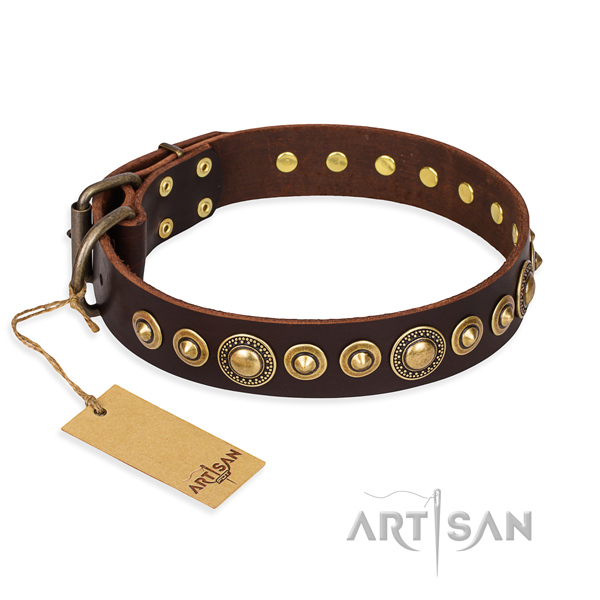 Gentle to touch full grain natural leather collar handmade for your four-legged friend