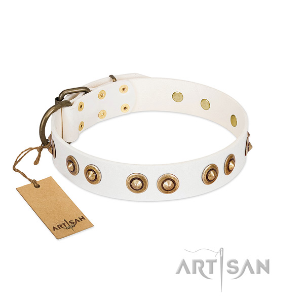 Easy to adjust full grain natural leather collar for your pet