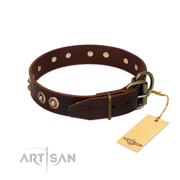 Corrosion resistant traditional buckle on genuine leather dog collar for your canine