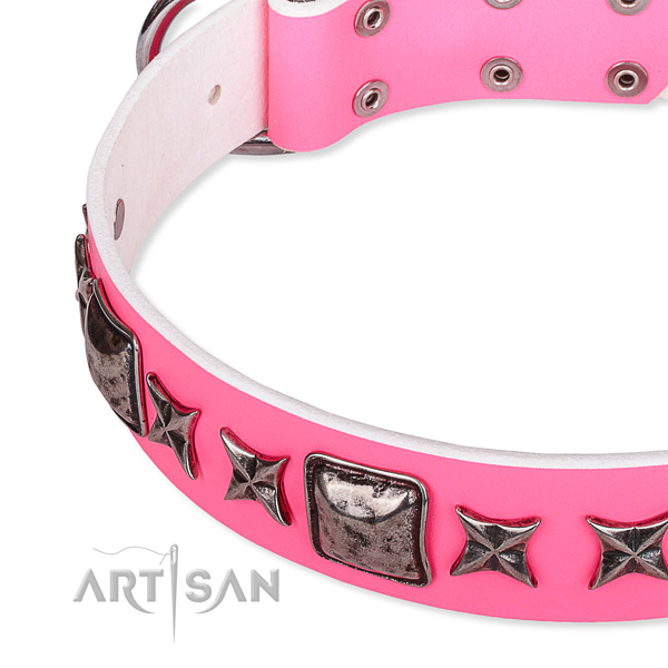 Stylish walking adorned dog collar of strong full grain genuine leather