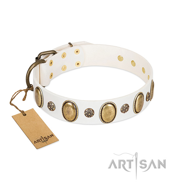 Handy use top notch full grain genuine leather dog collar with decorations