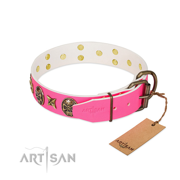 Rust resistant hardware on full grain natural leather collar for fancy walking your doggie