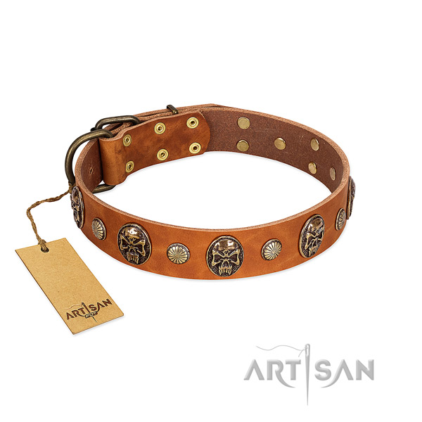 Extraordinary natural genuine leather dog collar for comfy wearing