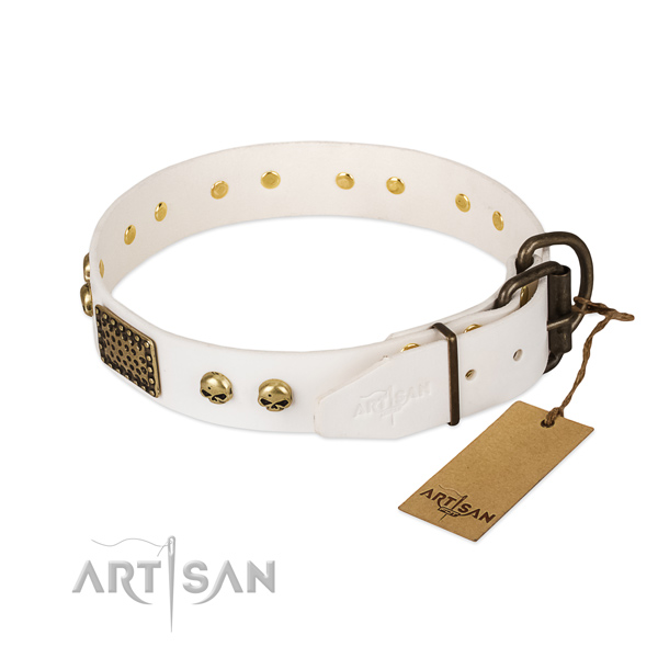 Easy wearing full grain natural leather dog collar for daily walking your dog