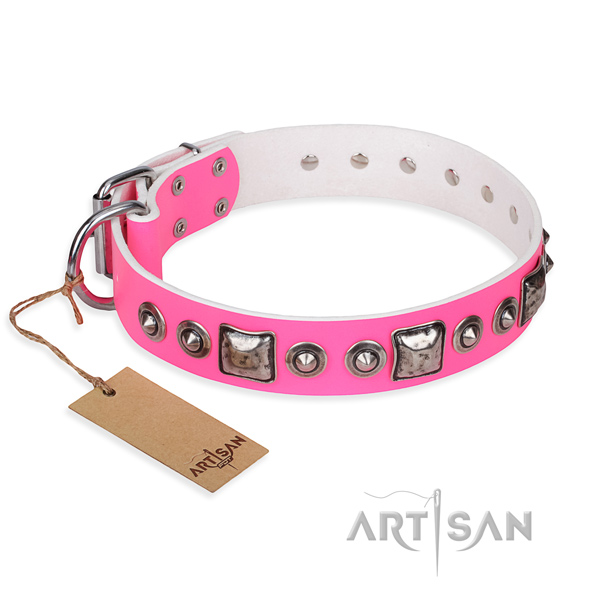 Natural genuine leather dog collar made of flexible material with rust resistant D-ring