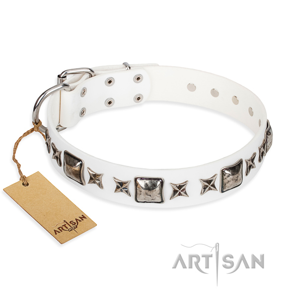 Leather dog collar made of gentle to touch material with reliable traditional buckle