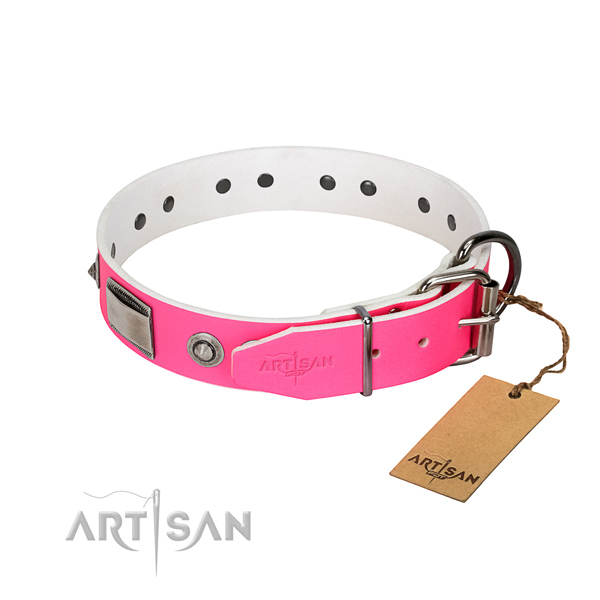 Inimitable full grain natural leather collar with decorations for your canine