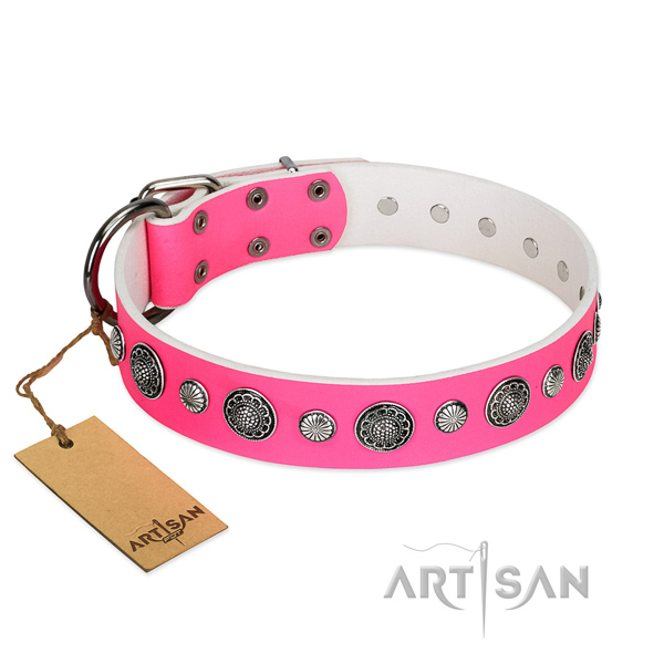 Best quality leather dog collar with rust-proof buckle
