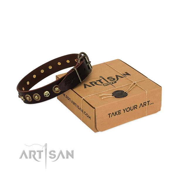 Full grain leather collar with trendy decorations for your four-legged friend