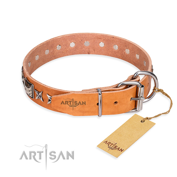 Top quality embellished dog collar of full grain genuine leather