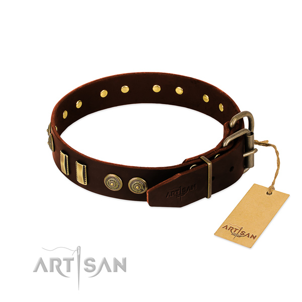 Corrosion proof buckle on natural leather dog collar for your doggie