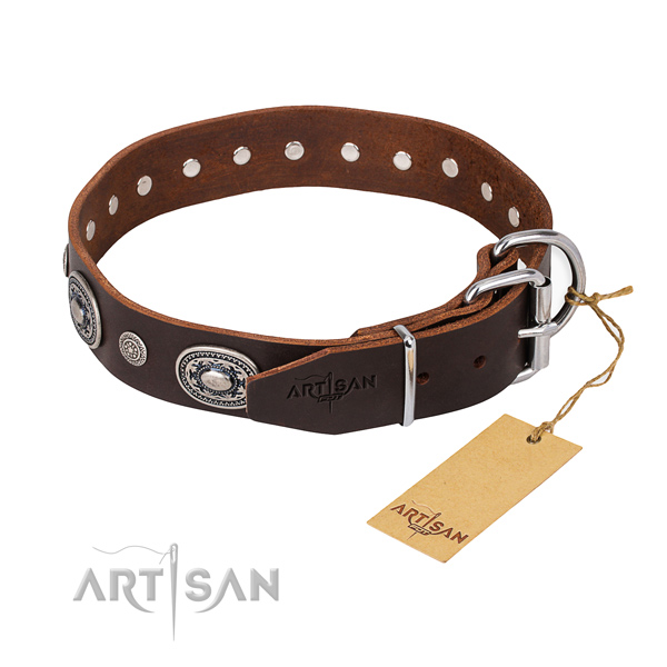 Top notch genuine leather dog collar handcrafted for fancy walking
