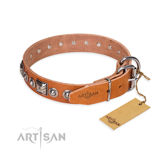 Reliable full grain natural leather dog collar crafted for walking