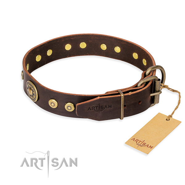 Full grain natural leather dog collar made of top rate material with strong decorations