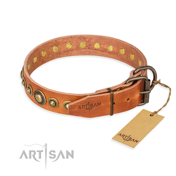 Reliable natural genuine leather dog collar made for walking