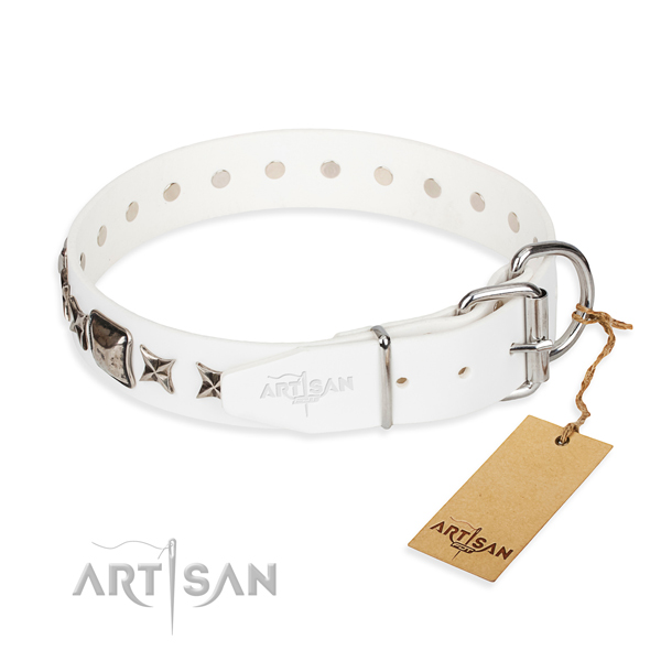 Strong adorned dog collar of genuine leather