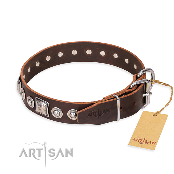 Genuine leather dog collar made of top notch material with strong embellishments