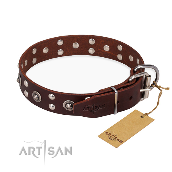 Strong D-ring on full grain genuine leather collar for your handsome four-legged friend