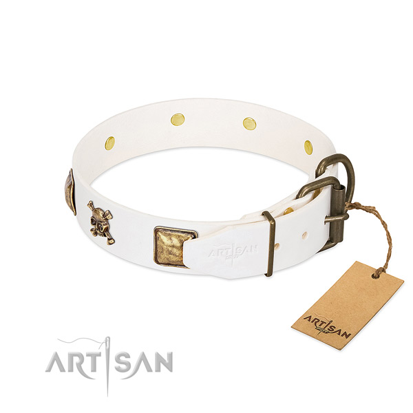 Top notch full grain natural leather dog collar with durable adornments