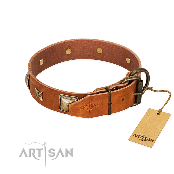 Genuine leather dog collar with corrosion proof D-ring and adornments