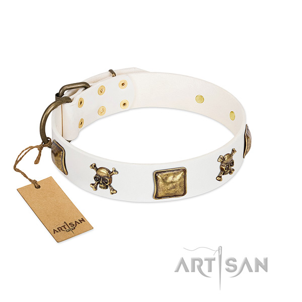 Remarkable full grain genuine leather dog collar with durable adornments
