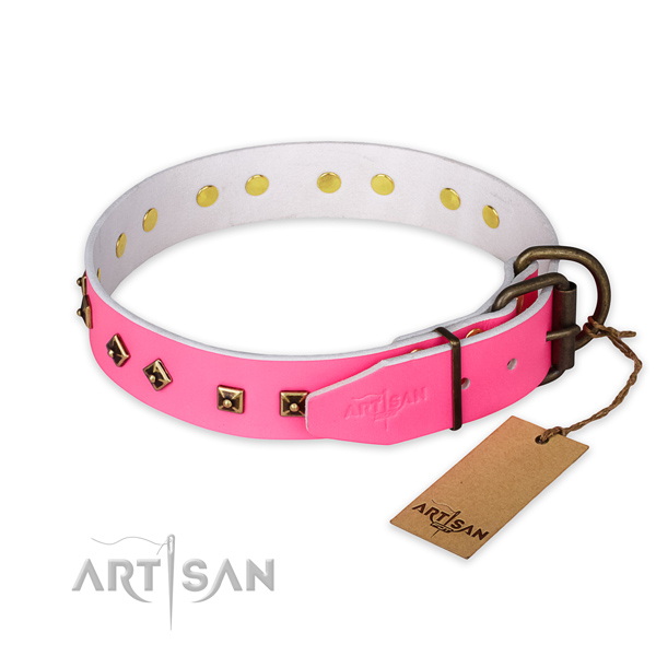 Rust-proof hardware on full grain genuine leather collar for fancy walking your pet