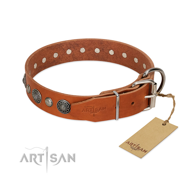 Strong full grain leather dog collar with rust resistant D-ring
