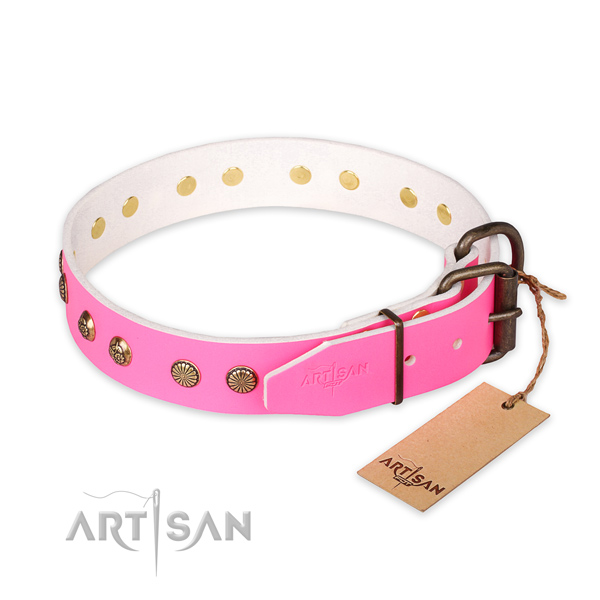 Strong traditional buckle on full grain leather collar for your stylish four-legged friend