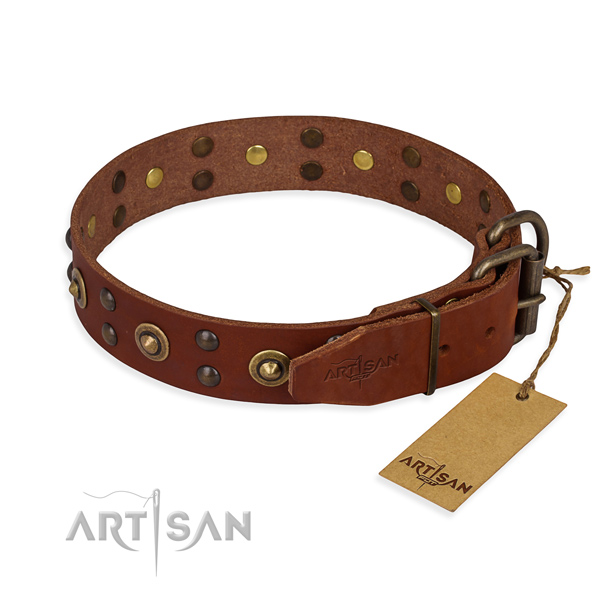 Durable traditional buckle on full grain genuine leather collar for your impressive doggie