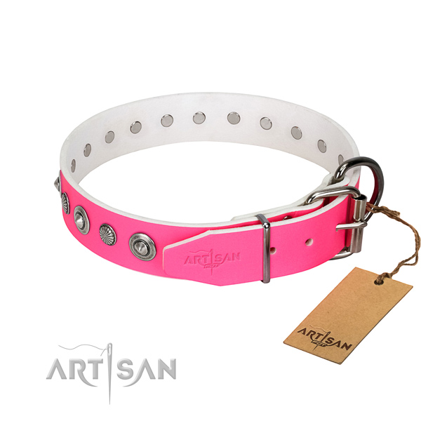 Top quality full grain natural leather dog collar with exceptional decorations