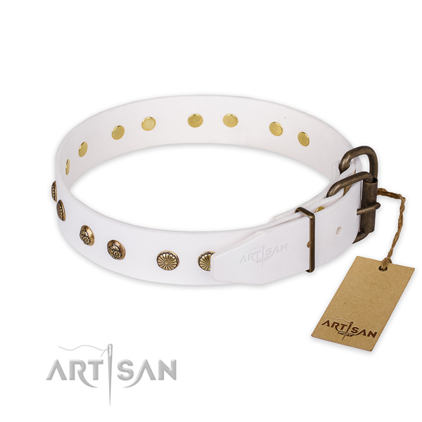 Rust resistant buckle on genuine leather collar for your handsome doggie