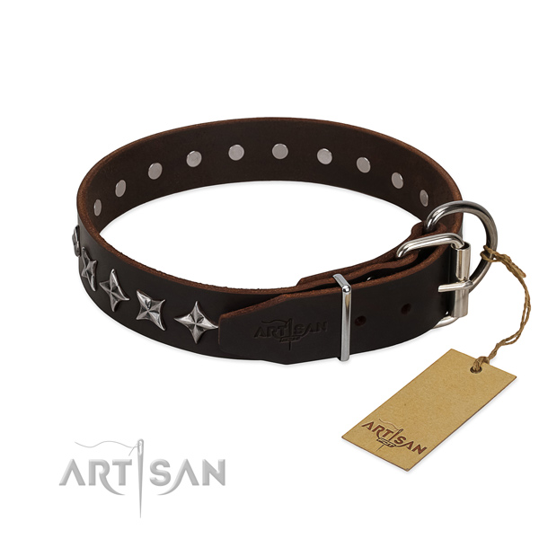 Handy use decorated dog collar of strong full grain natural leather