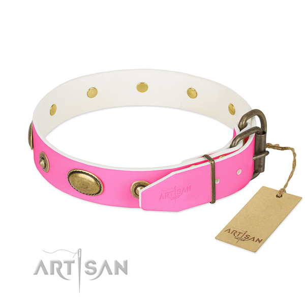 Rust resistant fittings on full grain leather dog collar for your canine