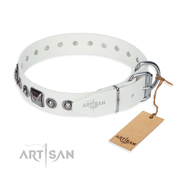 Top rate full grain natural leather dog collar crafted for walking