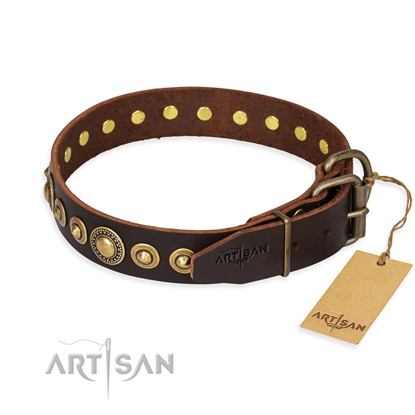 Top notch full grain leather dog collar crafted for handy use