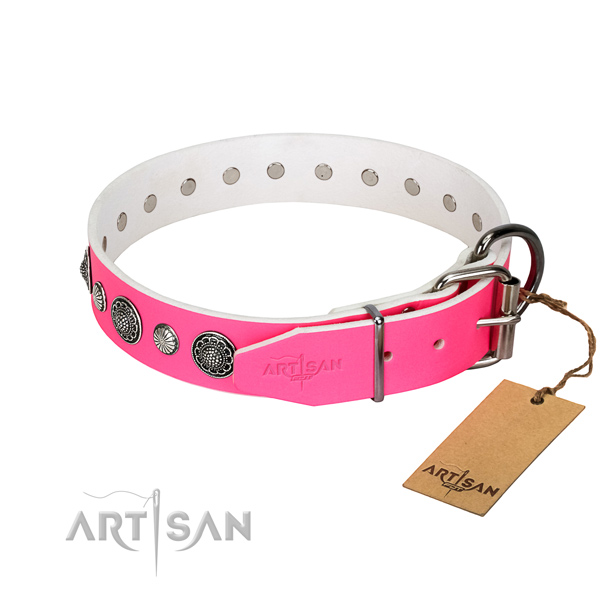 Quality genuine leather dog collar with corrosion proof hardware