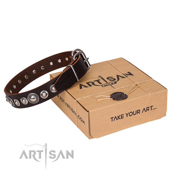Natural genuine leather dog collar made of high quality material with rust resistant fittings