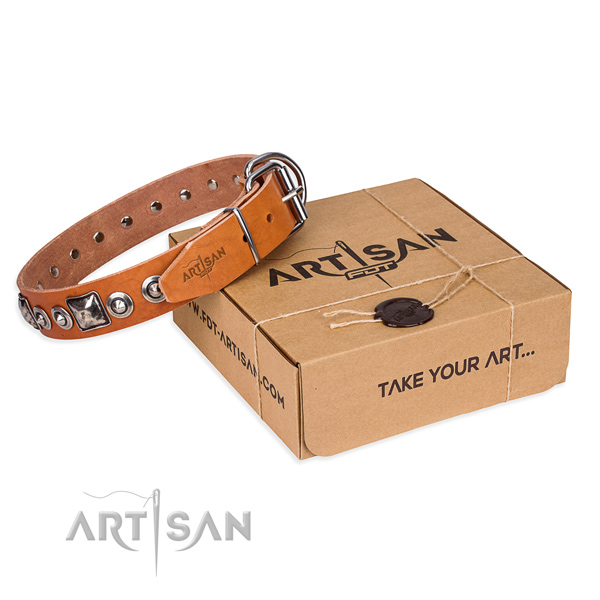 Full grain leather dog collar made of soft material with corrosion resistant traditional buckle