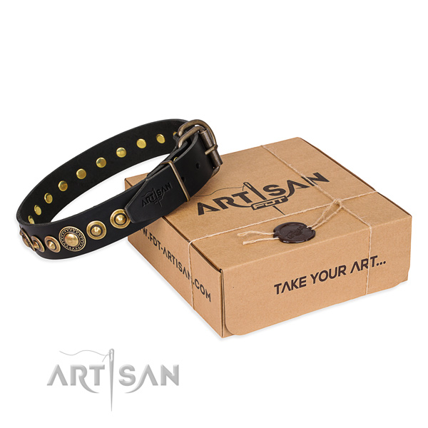 Top rate full grain natural leather dog collar made for basic training