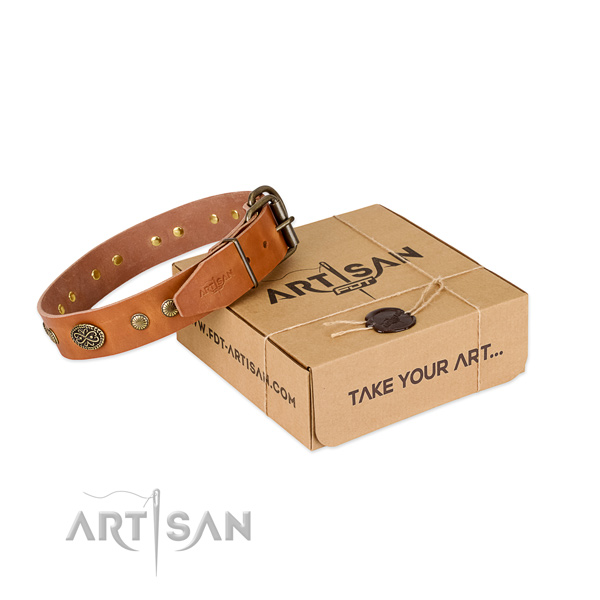 Strong traditional buckle on full grain leather dog collar for your doggie