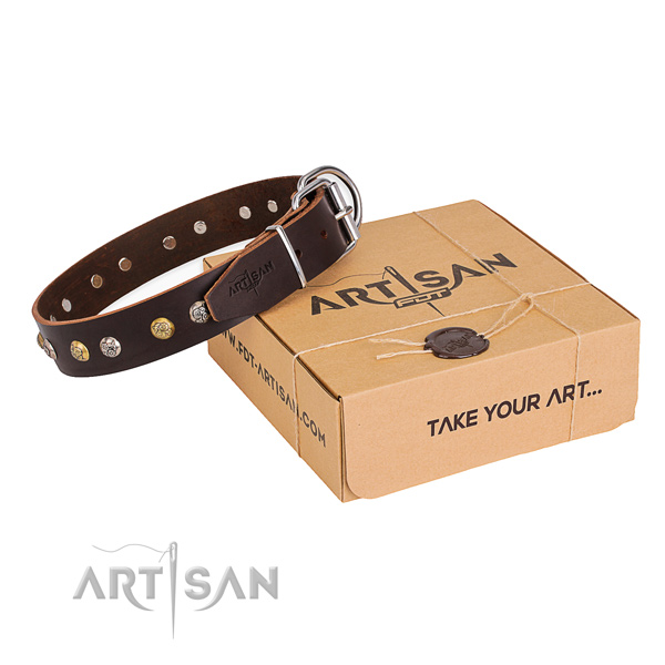 Soft natural genuine leather dog collar crafted for daily use