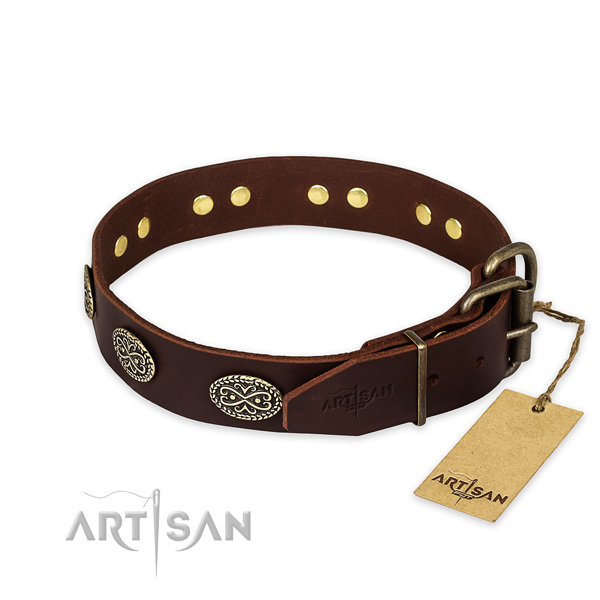 Corrosion resistant fittings on full grain leather collar for your handsome doggie
