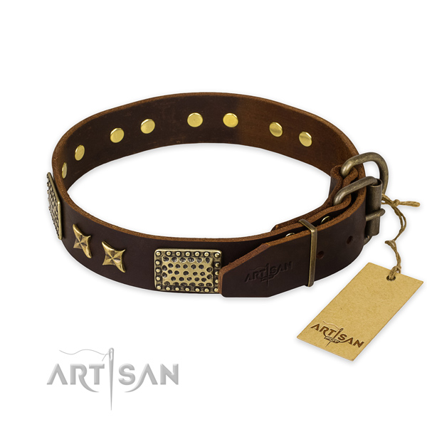 Rust-proof traditional buckle on full grain genuine leather collar for your beautiful pet