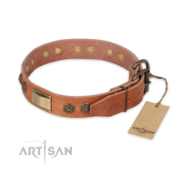 Durable fittings on natural genuine leather collar for daily walking your doggie
