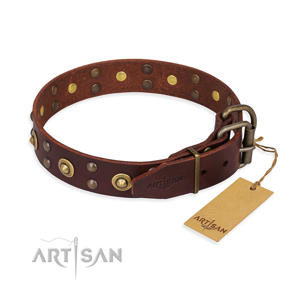 Rust-proof traditional buckle on full grain natural leather collar for your beautiful pet