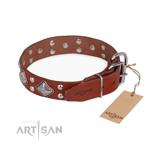 Full grain genuine leather dog collar with inimitable durable embellishments