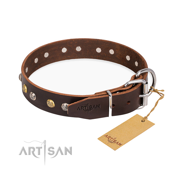 Top rate full grain leather dog collar handmade for easy wearing